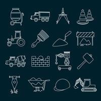 Contorno de conjunto de ícones de construção