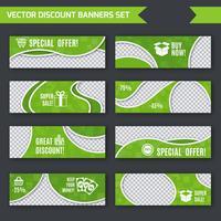 Conjunto de bandeiras de desconto verde