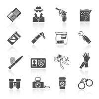 Conjunto de ícones de detetive preto vetor