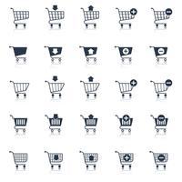 Ícones de carrinho de compras pretos vetor