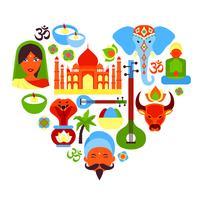 Coração de símbolos da Índia