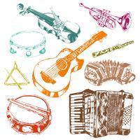 Conjunto de cores de ícones de instrumentos musicais vetor