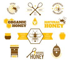 Rótulo de mel de abelha colorido vetor