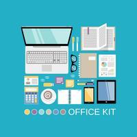 Kit de escritório decorativo vetor