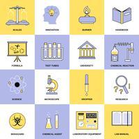 Ícones de linha plana de química