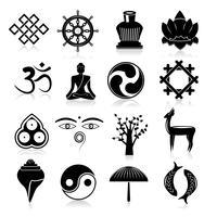 Conjunto de ícones do budismo preto vetor
