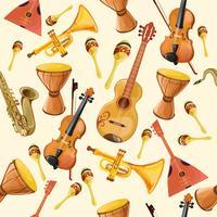 Padrão sem emenda de instrumentos de música vetor
