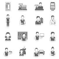Conjunto de ícones vendedor preto
