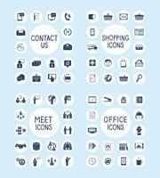 Escritório de negócios de Internet e conjunto de ícones de compras vetor