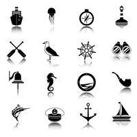 Náutico, ícones, jogo, pretas