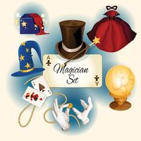 Conjunto de ícones de mágico vetor