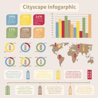 Infográfico de ícones da paisagem urbana vetor