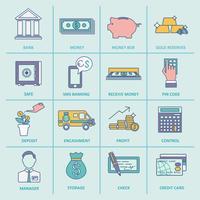 Linha plana de ícones de serviço de banco