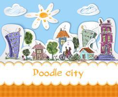 Cartaz de doodle de cidade