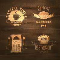 Emblemas de menu de restaurante em madeira vetor