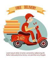 Cartaz de entrega de scooter vetor