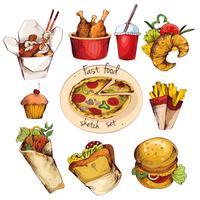Conjunto de desenho de fast food