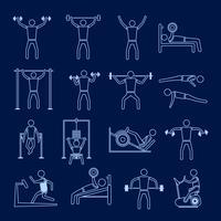 Conjunto de ícones de treinamento treino contorno