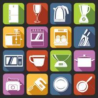 Ícones de aparelhos de cozinha brancos