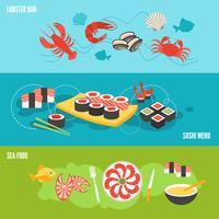 Conjunto de banner de frutos do mar vetor