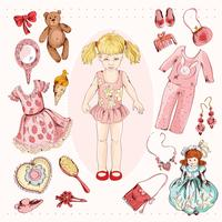 Conjunto de acessórios de personagem de menina pequena vetor