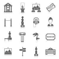 Museu ícones preto vetor