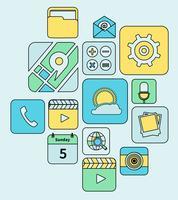 Linha plana de ícones de aplicativos móveis