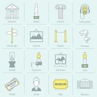 Linha plana de ícones de Museu