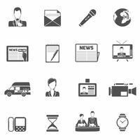 Notícias ícones preto