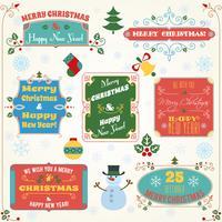 Conjunto colorido de rótulos de Natal