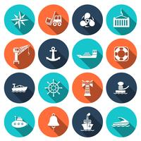 Conjunto de ícones do porto de mar vetor