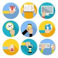 Negócios, mãos, ícones vetor
