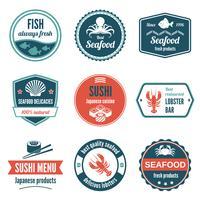 Conjunto de etiquetas de frutos do mar vetor