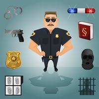 Personagem de policial com ícones vetor