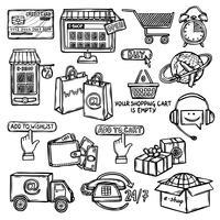 Esboço do conjunto de ícones de comércio eletrônico