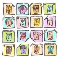 Conjunto de adesivos de emoticons de esboço vetor