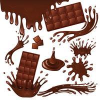 Barra de chocolate ao leite e salpicos vetor