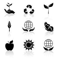 conjunto de ícones de ecologia preto