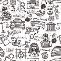 Padrão sem emenda de esboço de ícone de lei