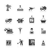 Conjunto de ícones pretos de construção
