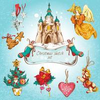 Conjunto de ícones de Natal colorido vetor