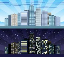 Borda tileable da arquitectura da cidade dia e noite