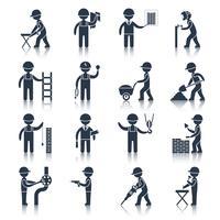 Ícones de trabalhador de construção pretos vetor