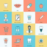 Ícones de dentes planas vetor