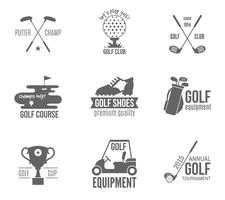 Conjunto de rótulo de golfe vetor