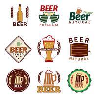 Emblemas coloridos de cerveja