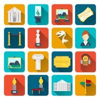 Ícones de museu planas