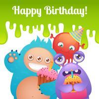 Cartão de monstros de aniversário vetor