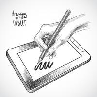 Mão de desenho no tablet vetor