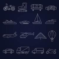 Conjunto de contorno de ícones de transporte vetor